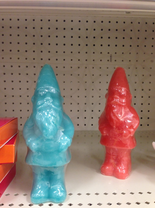 Wax gnomes (minus the wicks) in trendy colors of coral and turquoise.